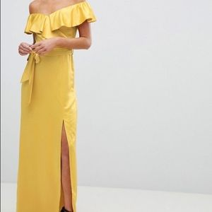 Off The Shoulder Frill Maxi Dress With Waist Tie